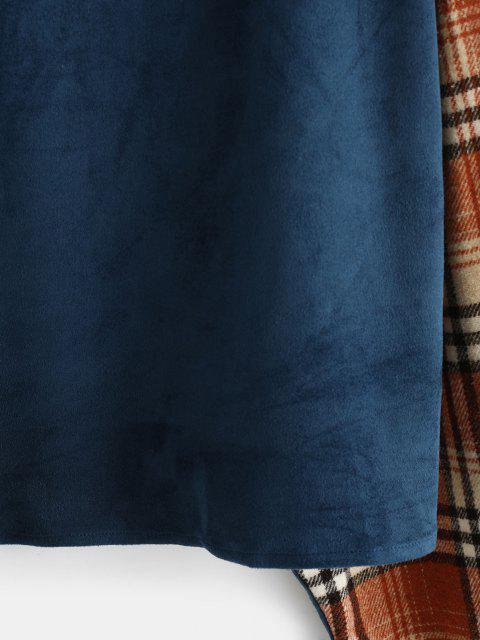women's ZAFUL Drop Shoulder Plaid Panel Faux Suede Sweatshirt - BLUE XL Mobile