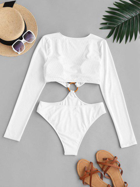affordable ZAFUL O Ring Plunge Cutout Long Sleeve One-piece Swimwear - WHITE L Mobile