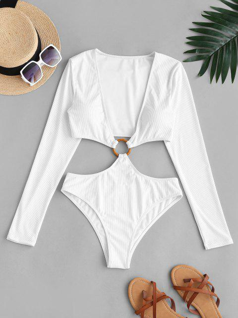 buy ZAFUL O Ring Plunge Cutout Long Sleeve One-piece Swimwear - WHITE XL Mobile