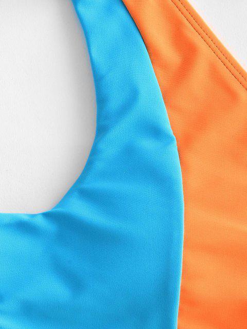 chic ZAFUL Colorblock Cut Out Halter Criss Cross String Bikini Swimwear - ORANGE L Mobile