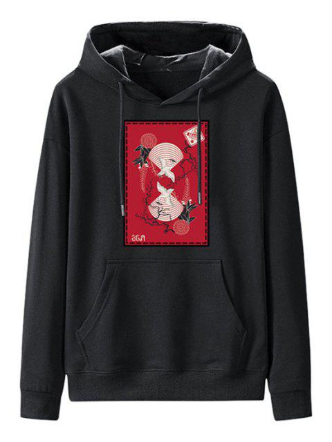 unique Front Pocket Fleece Lined Chinese Graphic Hoodie - NIGHT L Mobile