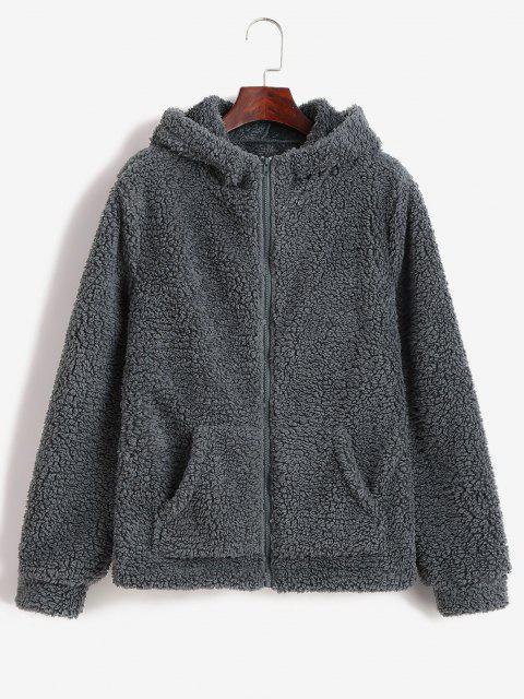 ZAFUL Abrigo con Capucha de Cremallera Esponjoso - Gris M Mobile