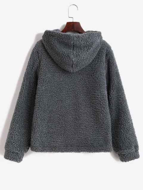 ZAFUL Hooded Fluffy Zip Pocket Coat - اللون الرمادي XL Mobile