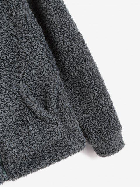 ladies ZAFUL Hooded Fluffy Zip Pocket Coat - GRAY XL Mobile