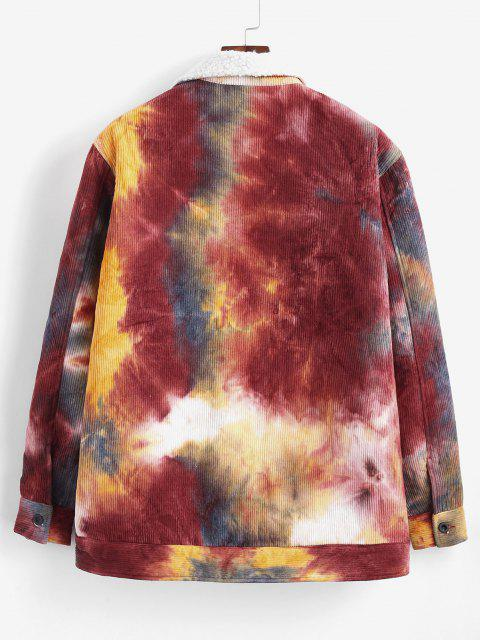 latest Tie Dye Print Faux Shearling Corduroy Jakcet - DEEP RED M Mobile