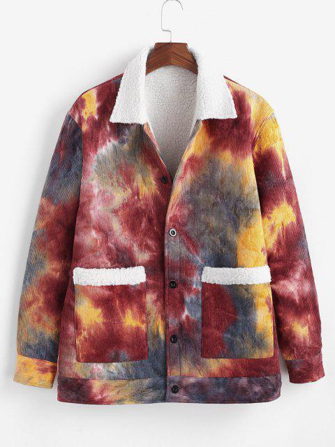 Tie Dye Print Faux Shearling Corduroy Jakcet - أحمر عميق L Mobile