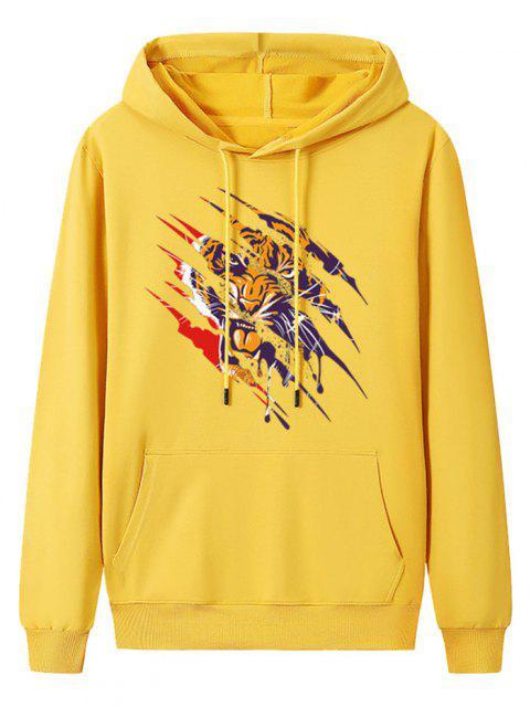 Sudadera con Capucha de Salpicadura de Pintura de Tigre - Amarillo Brillante L Mobile