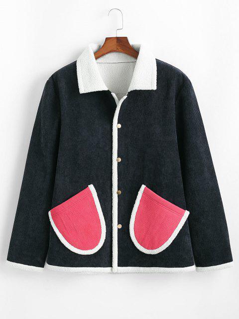 unique Contrast Double Pockets Corduroy Fleece Jacket - DEEP BLUE XL Mobile