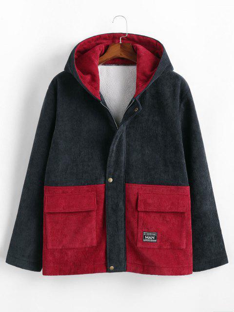 Hooded Double Pockets Contrast Corduroy Fleece Jacket - ازرق غامق S Mobile