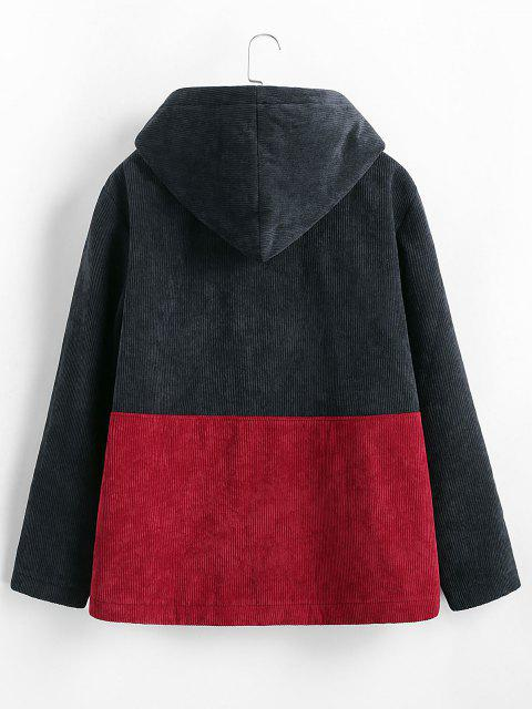 women Hooded Double Pockets Contrast Corduroy Fleece Jacket - DEEP BLUE M Mobile