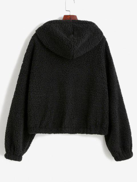 women's ZAFUL Faux Shearling Hooded PU Detail Zip Teddy Coat - BLACK S Mobile