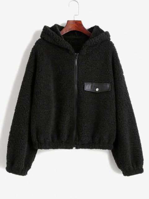 ZAFUL Faux Shearling Hooded PU Detail Zip Teddy Coat - أسود S Mobile