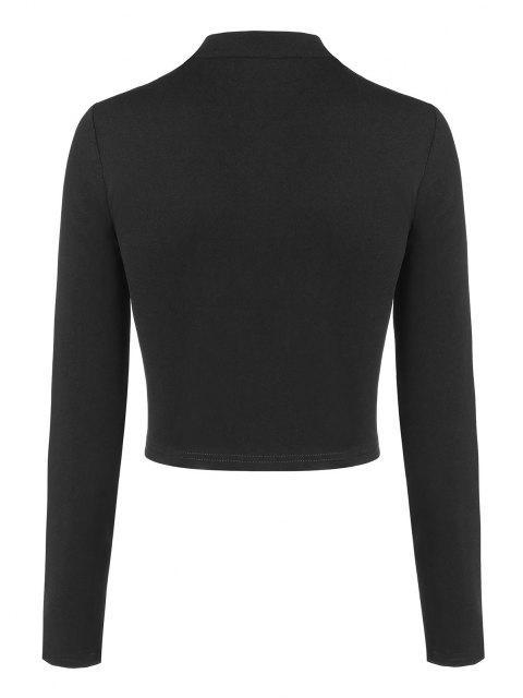 ZAFUL Pattentaschen Detail T-Shirt mit Reißverschluss - Schwarz XL Mobile