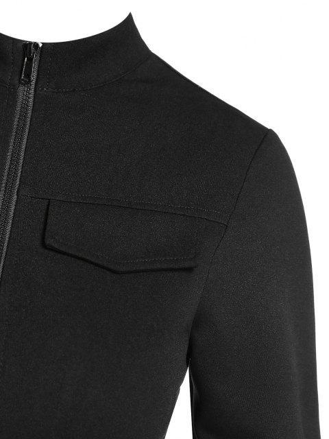 ZAFUL Pattentaschen Detail T-Shirt mit Reißverschluss - Schwarz M Mobile