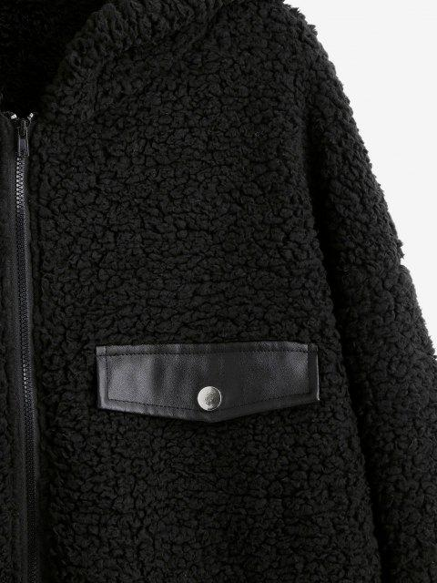 chic ZAFUL Faux Shearling Hooded PU Detail Zip Teddy Coat - BLACK XL Mobile