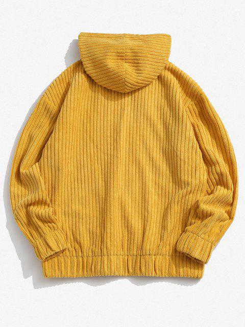 unique Corduroy Solid Front Pocket Hoodie - YELLOW XL Mobile