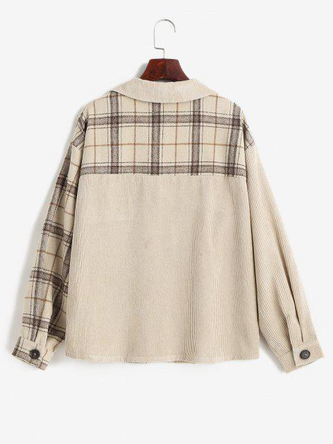 ZAFUL Corduroy Plaid Drop Shoulder Pocket Shacket - القهوة الخفيفة S Mobile