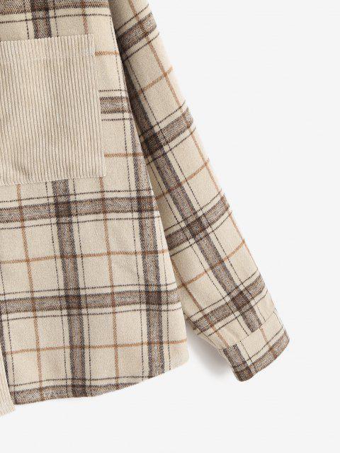 unique ZAFUL Corduroy Plaid Drop Shoulder Pocket Shacket - LIGHT COFFEE M Mobile