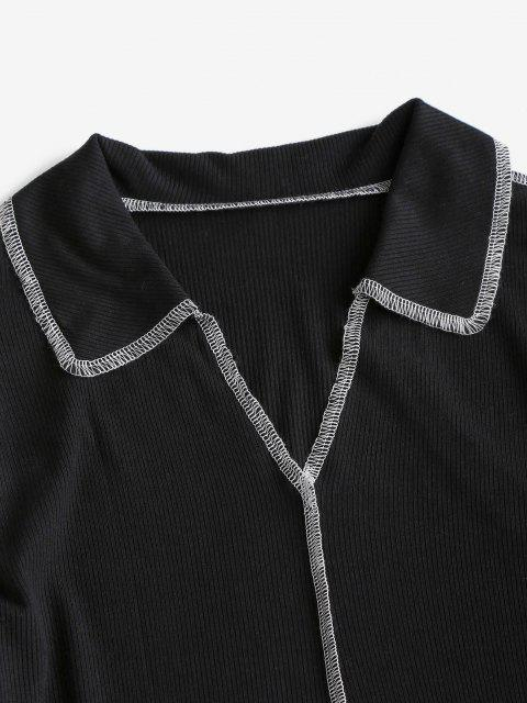 hot ZAFUL Ribbed Topstitching T Shirt - BLACK L Mobile