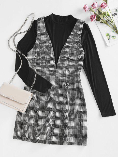 outfits ZAFUL Top and Plaid Mini Overalls Dress Set - BLACK S Mobile