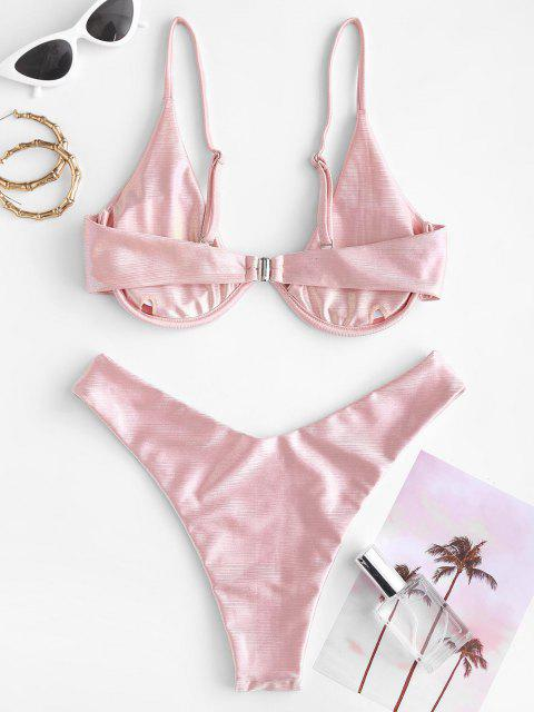 online ZAFUL Underwire Glitter High Cut Disco Bikini Swimwear - LIGHT PINK S Mobile