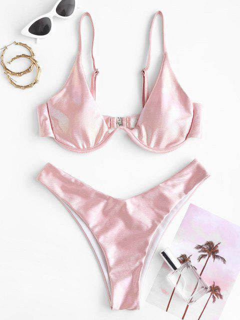 ZAFUL Stahlring Glitter Bikini Badebekleidung mit Hohem Ausschnitt - Hell-Pink M Mobile
