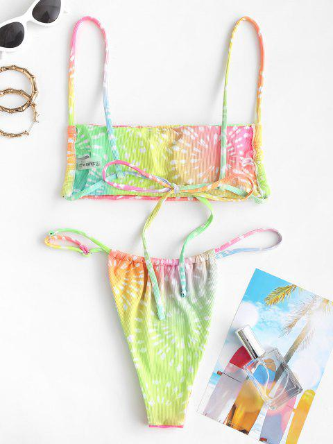 unique ZAFUL Tie Dye Ribbed String Bikini Swimwear - MULTI S Mobile