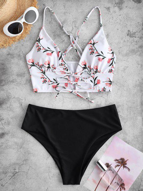 ZAFUL Criss Cross Back Lace Up Floral Tankini Swimwear - أسود XL Mobile