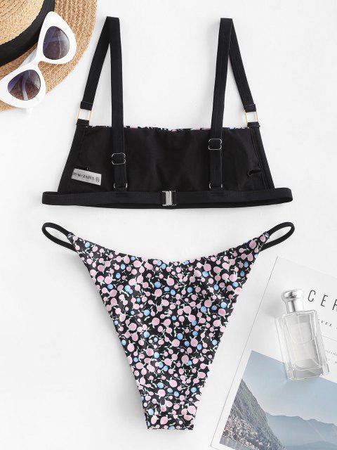 ZAFUL Costume da Bagno Bikini Incrociato con Stampa Frutto Della Passione - Nero S Mobile