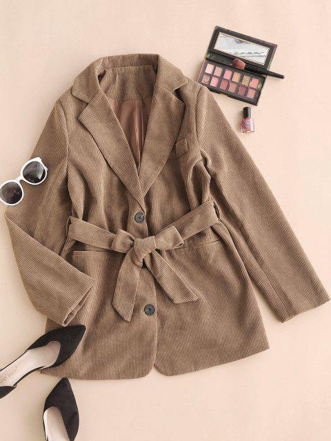 sale Button Up Pockets Belted Corduroy Blazer - COFFEE L Mobile