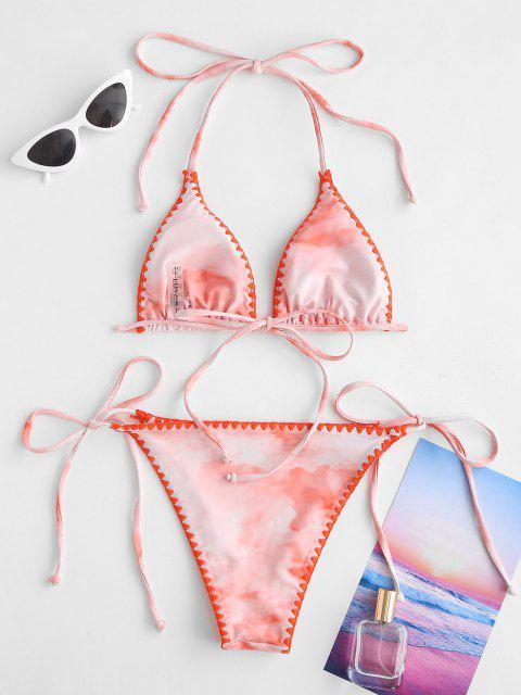 ZAFUL Costume da Bagno Bikini con Cordoncino a Frusta Testurizzata - Arancione chiaro S Mobile