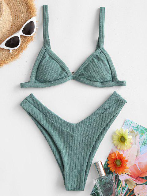 fashion ZAFUL Ribbed High Cut Bikini Swimwear - LIGHT GREEN S Mobile