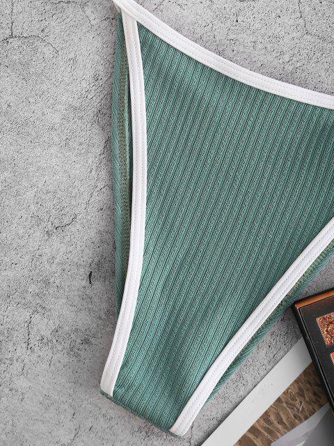 fancy ZAFUL Ribbed O Ring One Shoulder Contrast Binding Bikini Swimwear - LIGHT GREEN M Mobile