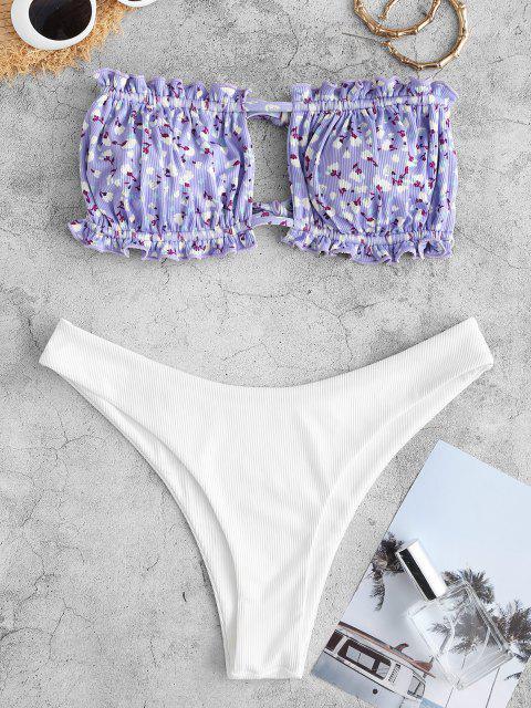 womens ZAFUL Floral Ribbed Ruched Tube Bikini Swimwear - PURPLE S Mobile