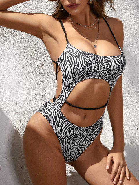 ZAFUL Leopard Zebra Ribbed Cutout Cross One-piece Swimsuit - أسود S Mobile