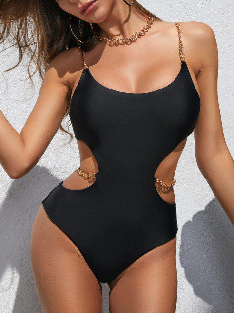 womens ZAFUL Chain Panel Monokini Swimsuit - BLACK S Mobile