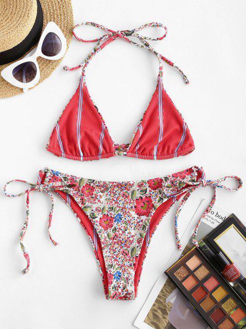 chic ZAFUL Reversible Ditsy Print Striped Ribbed Bralette String Bikini Swimwear - RED M Mobile