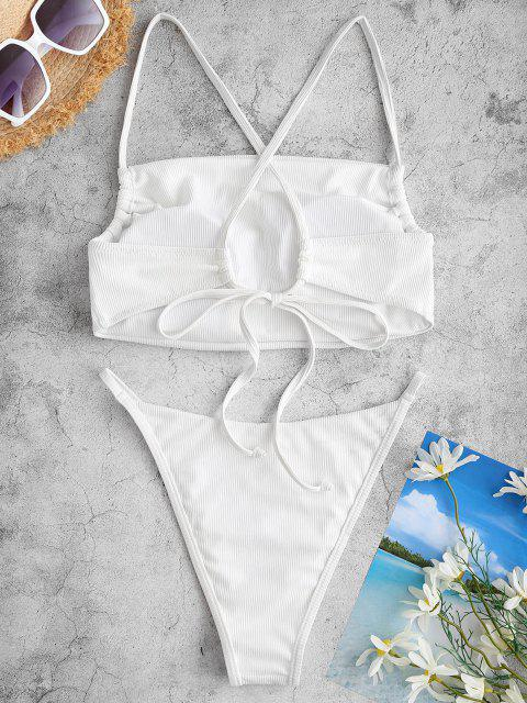 ZAFUL Kreuzer und Querer Gerippte Tanga Bikini Badebekleidung - Weiß S Mobile