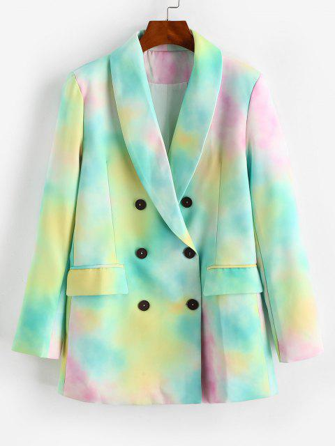 women Tie Dye Pocket Double Breasted Blazer - LIGHT GREEN S Mobile