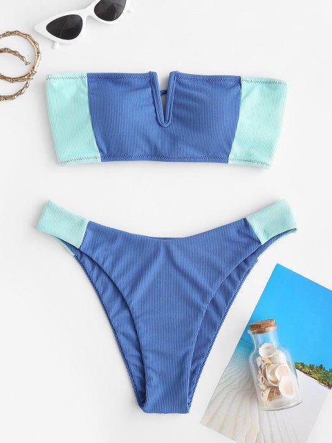 online ZAFUL Ribbed Colorblock V-wired Bandeau Bikini Swimwear - BLUE S Mobile