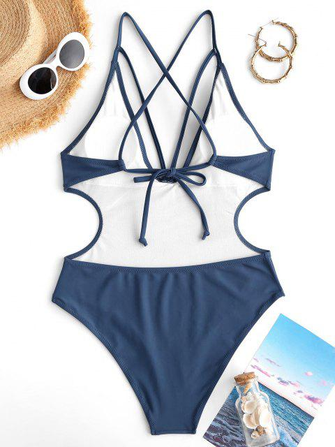 outfit ZAFUL Cutout Crisscross Plunge One-piece Swimwear - DEEP BLUE S Mobile