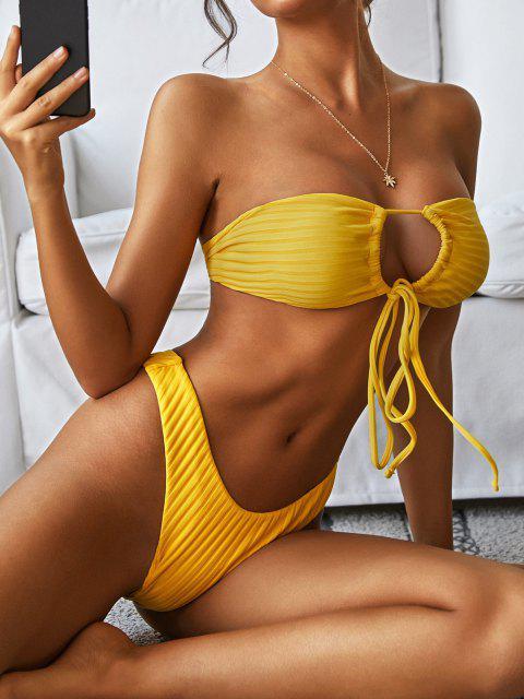 Costume da Bagno Bikini a Costine Convertibile di ZAFUL con Scollo Profondo - Giallo M Mobile