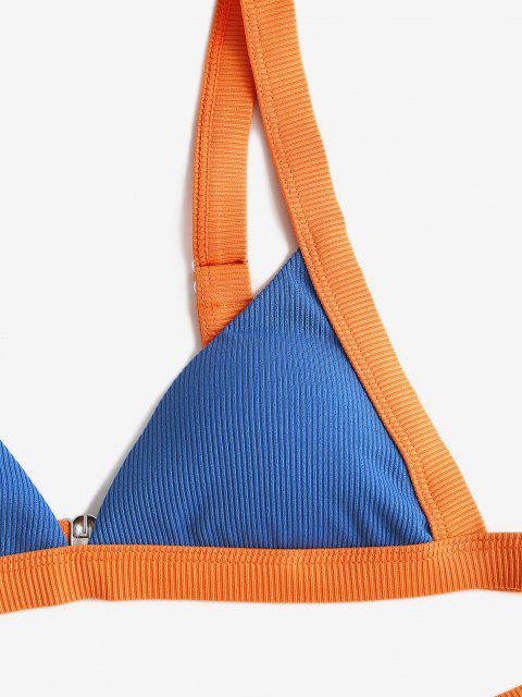 ZAFUL Gerippter Farbblock Cheeky Bikini Badebekleidung - Blau S Mobile