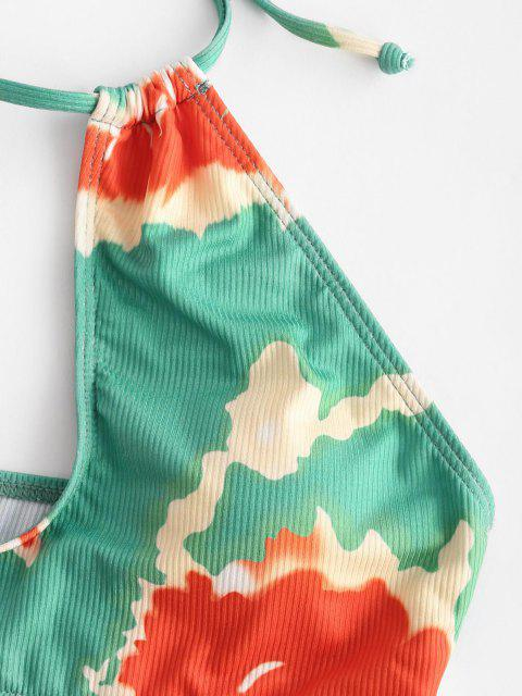 ZAFUL Krawattenfärbender Gerippter Bikini Badebekleidung mit Ausschnitt - Grün S Mobile