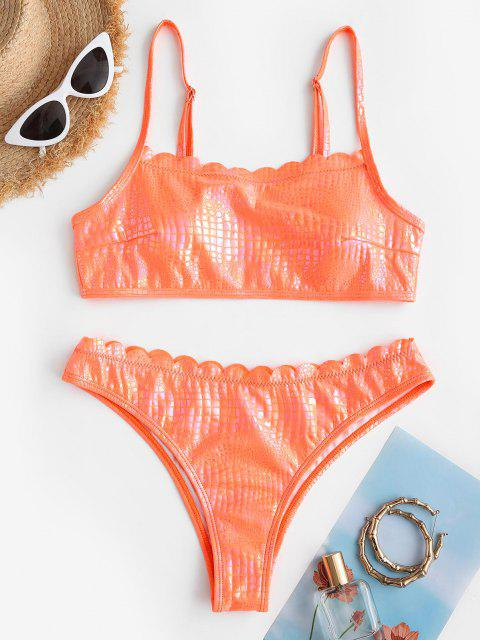 Costume da Bagno Bikini Smerlato Griglia in Pelle di Serpente Serpente Serpente - Arancione Scuro S Mobile