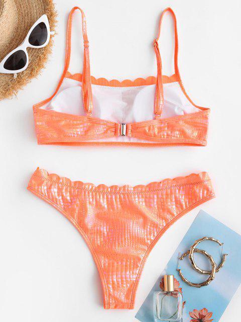 Maillot de Bain Bikini Peau de Serpent à Ourlet Festonné - Orange Foncé L Mobile