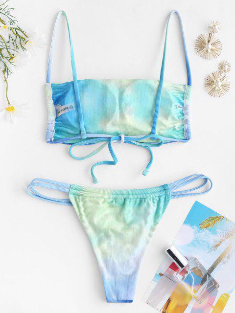 shops ZAFUL Tie Dye Ribbed Tanga Bikini Swimwear - MULTI-A S Mobile