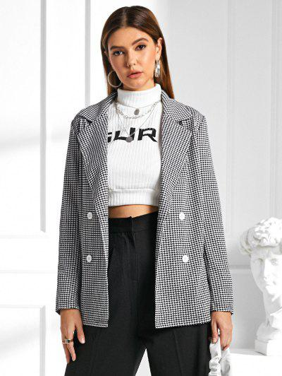ZAFUL Lapel Houndstooth Blazer - Black S