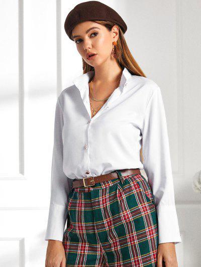 Metallic Button Down Office Shirt - White L