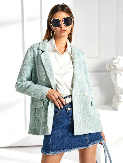 ZAFUL Flap Pockets Lapel Tweed Blazer - Pale Blue Lily M